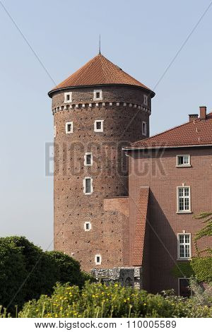Sandomierska Tower On Wawel Royal Castle , Cracow, Poland