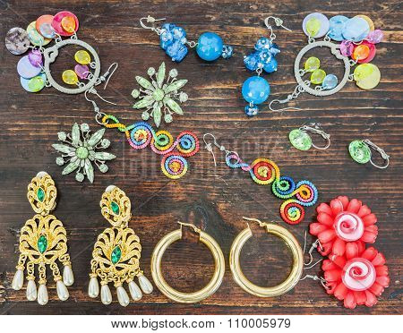 Costume Jewelry For Women. Various Types Of Earrings.