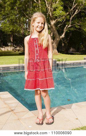Girl Red Dress Summer Pool