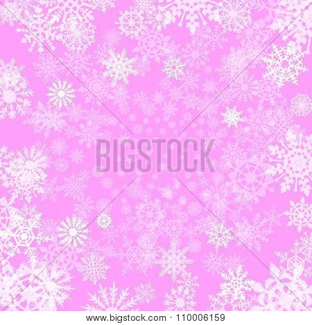 Pink Background With Snowflakes, Vector Illustration