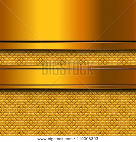 Abstract Golden Metal Template Background Design, Vector Illustration