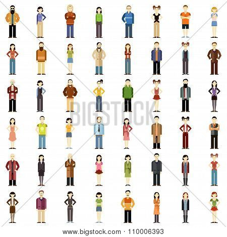 Set of people flat icons