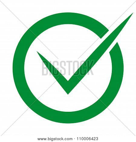 Check In Circle Green Colored On White Background