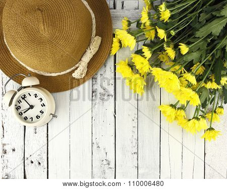 Beautiful Background - Flowers And Hat On White Wood