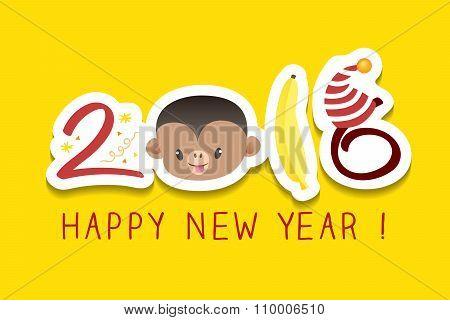 2016 New Year Greeting Monkey Zodiac Symbol Illustration