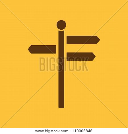 The signpost icon. Pointer symbol. Flat