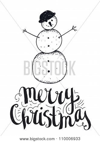Vector hand drawn christmas illustration with lettering. Card, poster, banner.