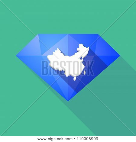 Long Shadow Diamond Icon With  A Map Of China