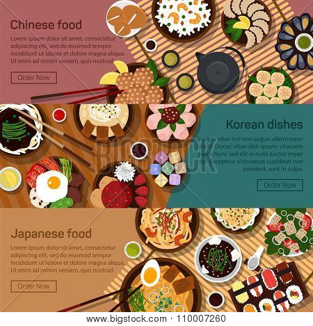Vector flat illustration of chinese, japanese, korean national dishes.