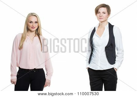 two businesswomen, isolated on white background.