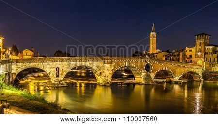 Ponte Di Pietra. Bridge In Verona
