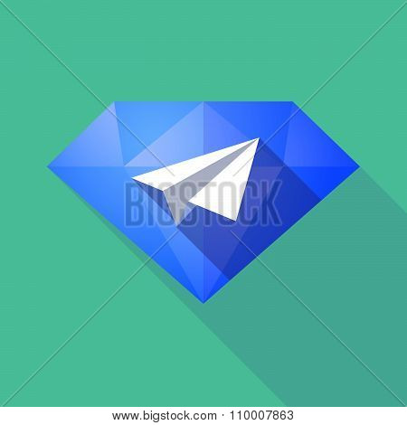 Long Shadow Diamond Icon With A Paper Plane