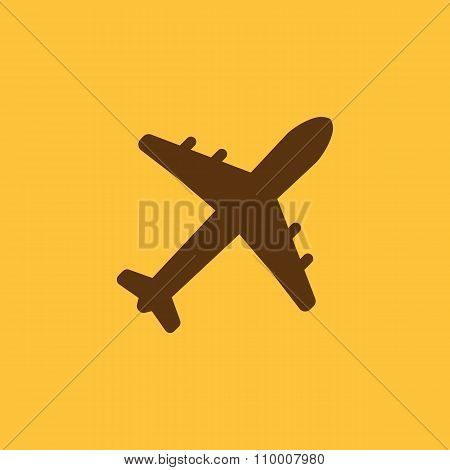 The plane icon. Travel symbol. Flat