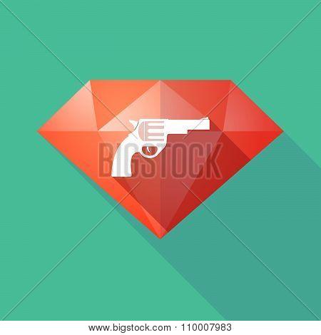 Long Shadow Diamond Icon With A Gun