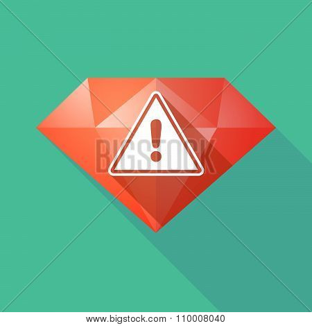 Long Shadow Diamond Icon With A Warning Signal