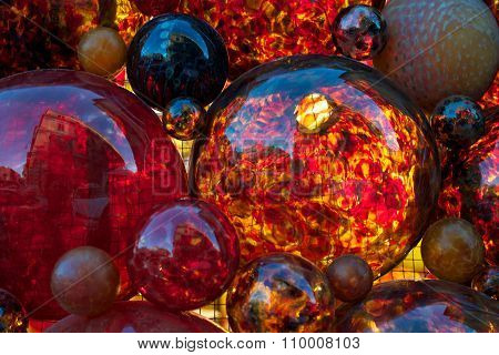 Red decoration, red glass, Christmas decor, red glass bubbles, fragment, red color, Christmas abstra