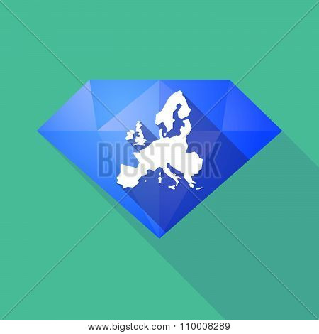 Long Shadow Diamond Icon With  A Map Of Europe