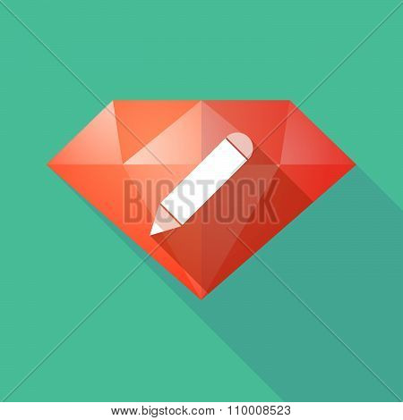 Long Shadow Diamond Icon With A Pencil