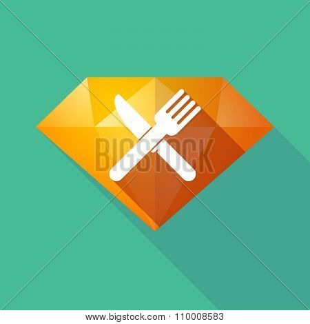 Long Shadow Diamond Icon With A Knife And A Fork