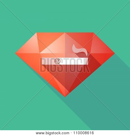 Long Shadow Diamond Icon With An Electronic Cigarette