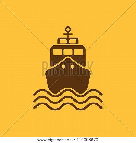 The ship icon. Travel symbol. Flat
