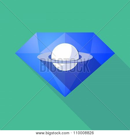 Long Shadow Diamond Icon With The Planet Saturn
