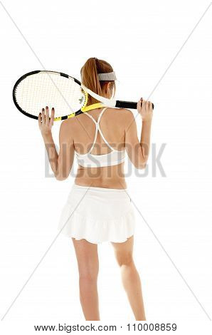 Female Tennis Player Holding Racket, Isolated On White Background