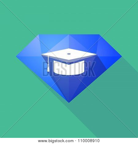 Long Shadow Diamond Icon With A Graduation Cap