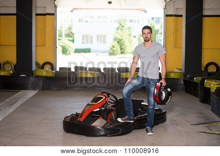 Young Man Karting Racer
