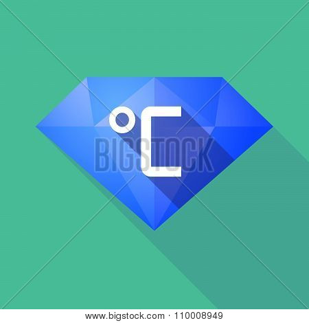 Long Shadow Diamond Icon With  A Celsius Degree Sign