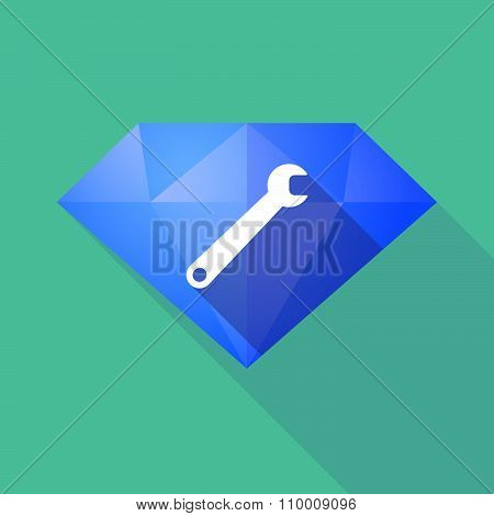 Long Shadow Diamond Icon With A Spanner