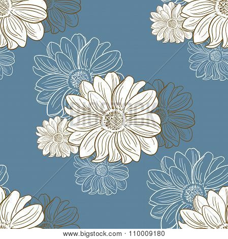 Seamless Pattern With Hand Drawn Camomiles
