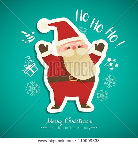 Christmas Santa Claus Cartoon On Green Background Illustration
