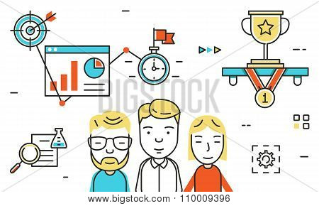 Flat Line Design Vector Illustration For Career Growth, Collaboration, Business Teamwork, Team Skill