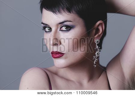 beauty, Sensual gesture girl dressed in the style of 20s and 30s