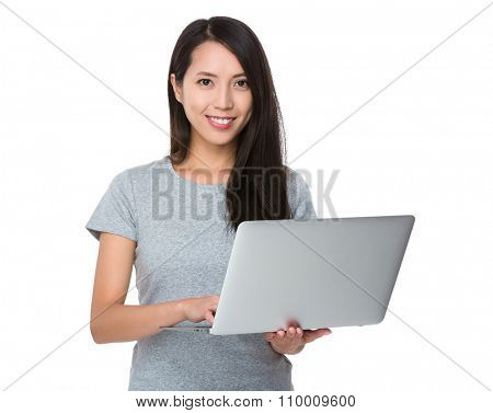 Asian Woman use laptop computer