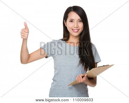 Young Woman hold with clipboard and thumb up gesture