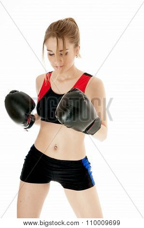 Boxer Girl Wearing Boxing Gloves Against White Background.healthy Lifestyle Concept.