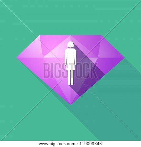 Long Shadow Diamond Icon With A Female Pictogram