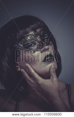 Vogue, sensual and seductive woman with mask