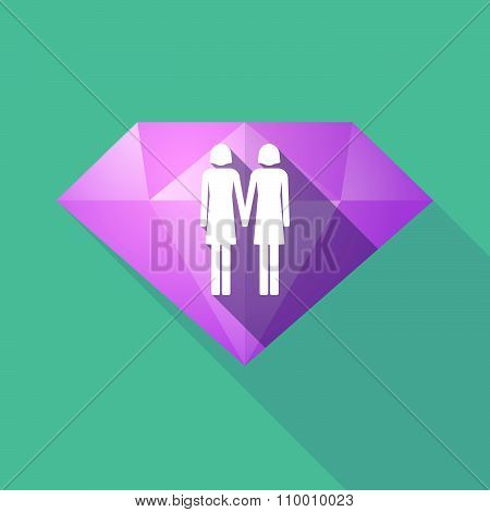 Long Shadow Diamond Icon With A Lesbian Couple Pictogram