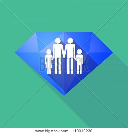 Long Shadow Diamond Icon With A Gay Parents  Family Pictogram