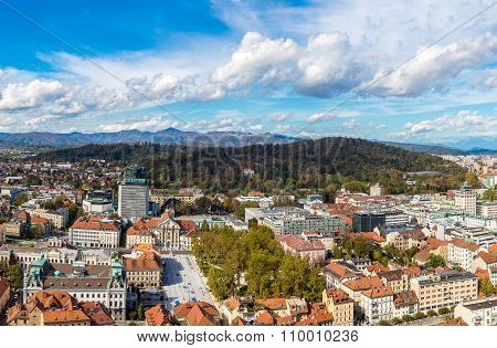 Aerial View Of Ljubljana In Slovenia