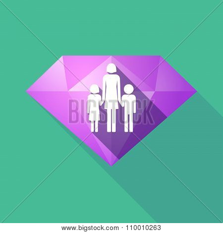 Long Shadow Diamond Icon With A Female Single Parent Family Pictogram
