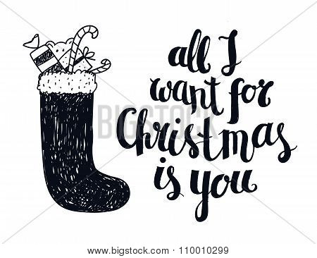 Vector Christmas winter lettering, greeting quote. Poster, card with hand drawn illustration.