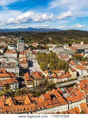 Aerial View Of Ljubljana In Slovenia