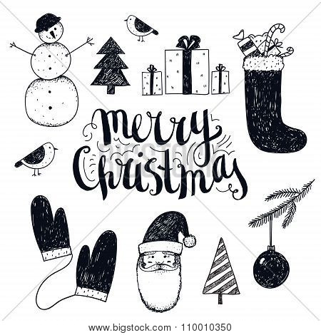 Vector hand drawn christmas objects.