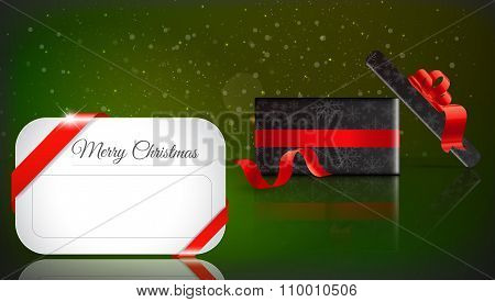 Christmas Gift On green Background With Snow And Snowflakes. Merry Christmas Vector Illustration. Ep