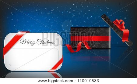 Christmas Gift On blue Background With Snow And Snowflakes. Merry Christmas Vector Illustration. Eps