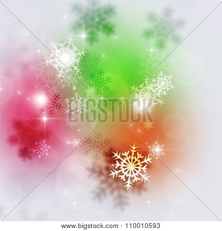Bright Multicolor Snow Background